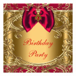 Elegant Red and Gold Birthday Party Custom Invitation