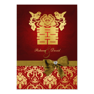 "Elegant Red and Gold Chinese Double Happiness 5"" X 7"" Invitation Card"