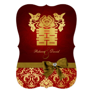 """Elegant Red and Gold Chinese Double Happiness 5"""" X 7"""" Invitation Card"""