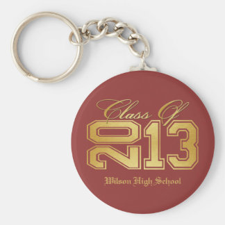 Elegant Red and Gold Class of 2013 Basic Round Button Key Ring