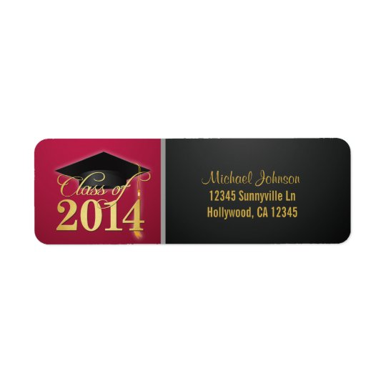 Elegant Red and Gold Class of 2014 Return Address Label