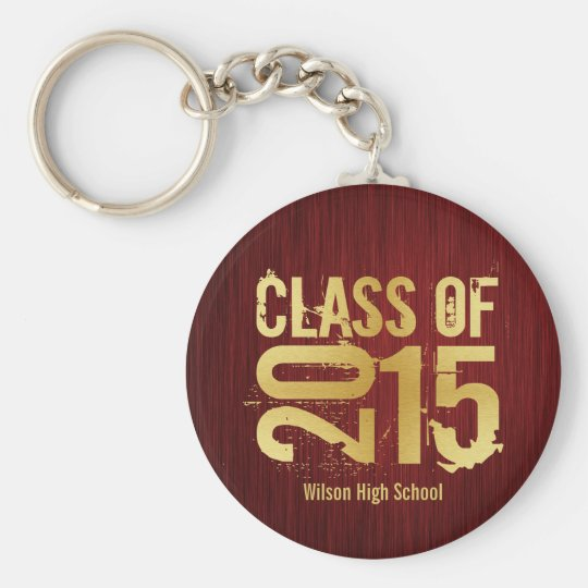 Elegant Red and Gold Class of 2015 Graduation Key Ring