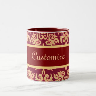 Elegant Red and Gold Classy Damask Designs Two-Tone Mug