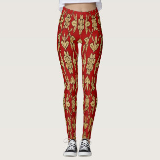 Elegant Red and Gold Design Leggings