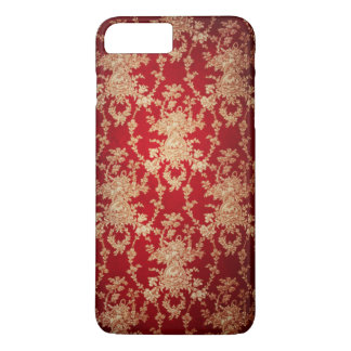 Elegant Red and Gold Floral Damask iPhone 8 Plus/7 Plus Case