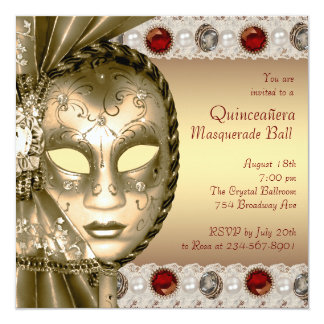 Elegant Red and Gold Masquerade Party 13 Cm X 13 Cm Square Invitation Card