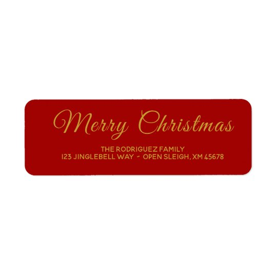 Elegant Red and Gold Merry Christmas Address Label