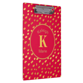 Elegant Red and Gold Monogram Clipboard