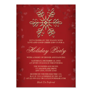 Elegant Red and Gold Snowflake Holiday Party 13 Cm X 18 Cm Invitation Card