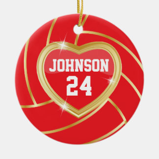 Elegant Red and Gold Volleyball Christmas Tree Ornaments