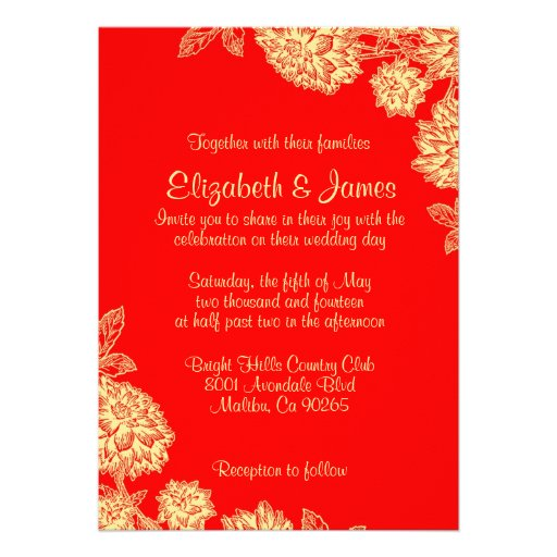 Elegant Red And Gold Wedding Invitations Custom Announcements