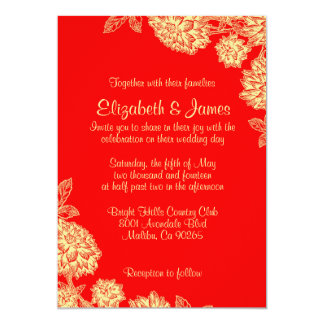 Elegant Red And Gold Wedding Invitations