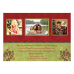 Elegant red and green 3 photo christmas flat card personalised announcements