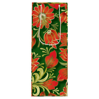 Elegant Red and Green Floral Paper Wine Gift Bag