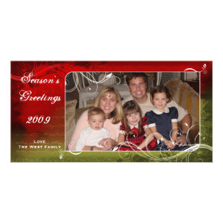 Elegant Red and Green Holiday Photo Card