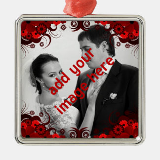 Elegant Red and White Floral Wedding Keepsake Christmas Ornament