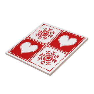Elegant Red and White Snowflakes and Hearts Small Square Tile