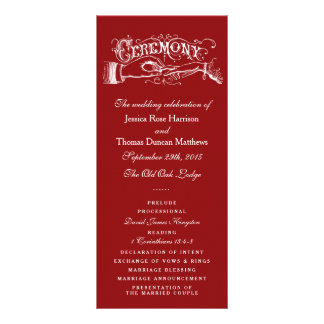 Elegant Red And White Wedding Ceremony Programs Rack Card