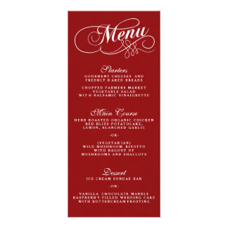Elegant Red And White Wedding Menu Templates