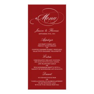 Elegant Red And White Wedding Menu Templates Custom Rack Card