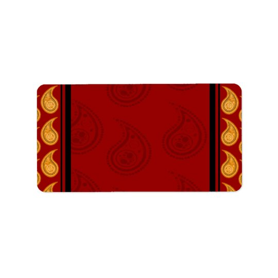 Elegant Red and Yellow paisley pattern gift Address Label