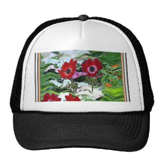 Elegant Red Anemone Flower Display on gifts fun Trucker Hat