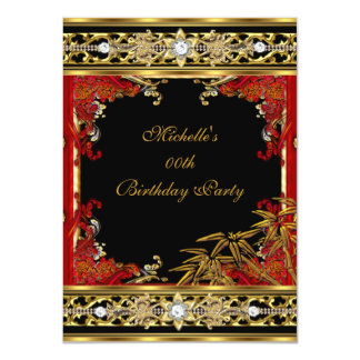 Elegant Red Asian Gold Bamboo Birthday Party 4.5x6.25 Paper Invitation Card