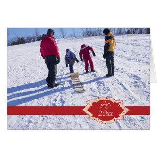 Elegant red band christmas holiday photo card