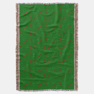 Elegant Red Berries & Green Leaves Pattern Holiday Throw Blanket