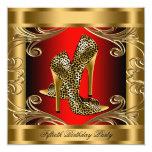 Elegant Red Black and Gold Birthday Party 13 Cm X 13 Cm Square Invitation Card