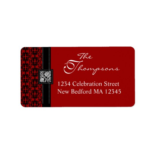 Elegant Red & Black Damask Address Label