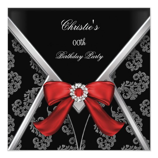 Elegant Red Black Damask Bow Birthday Party Card