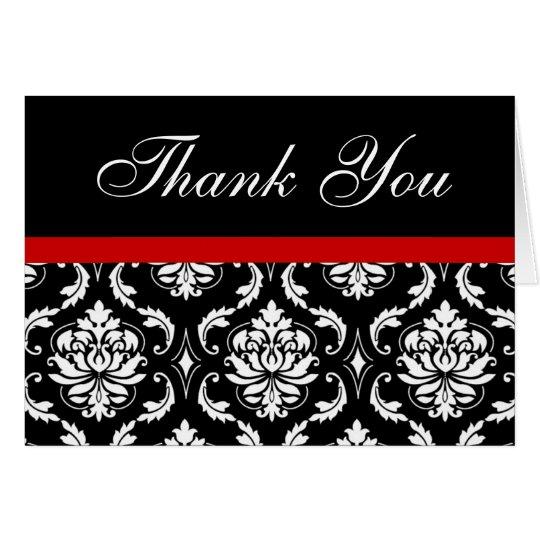 Elegant Red Black Damask Wedding Thank You Notes