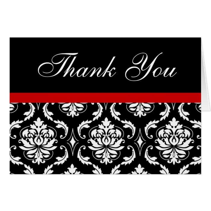 Elegant Red Black Damask Wedding Thank You Notes Note Card