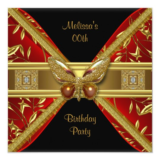 Elegant Red Black Gold Butterfly Image Party Card