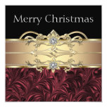 Elegant Red Black Gold Christmas Party 13 Cm X 13 Cm Square Invitation Card