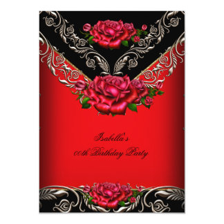 Elegant Red Black Roses Floral Birthday Party 4.5x6.25 Paper Invitation Card