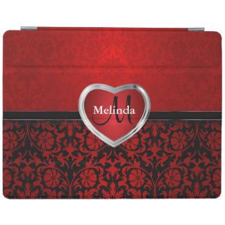 Elegant Red, Black & Silver Damask Pattern iPad Cover