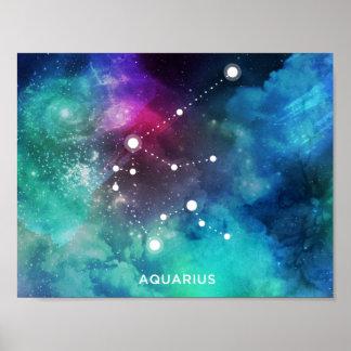 Elegant Red Blue Watercolor Nebula Aquarius Poster