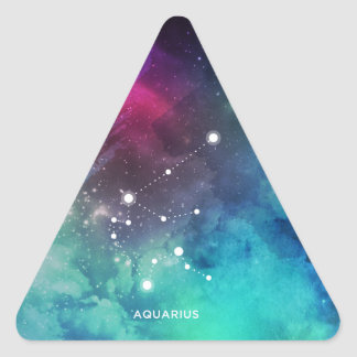 Elegant Red Blue Watercolor Nebula Aquarius Triangle Sticker
