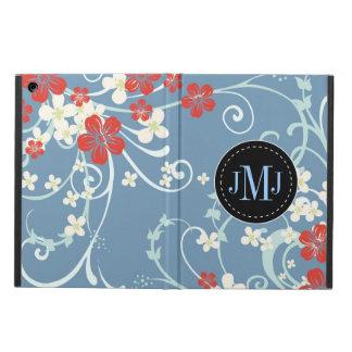 Elegant Red Blue White Vintage Floral Monogram Cover For iPad Air