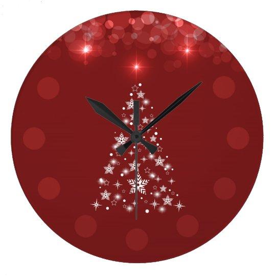 Elegant Red Bokeh Christmas Tree Wall Clock