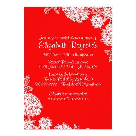 Elegant Red Bridal Shower Invitations