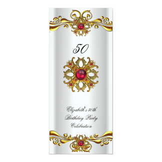 Elegant Red Cherry Jewel White Gold Birthday Party 10 Cm X 24 Cm Invitation Card