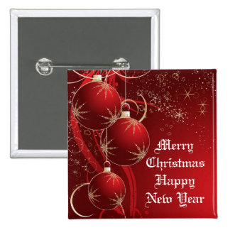 Elegant Red Christmas 15 Cm Square Badge