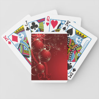 Elegant Red Christmas Bicycle Playing Cards