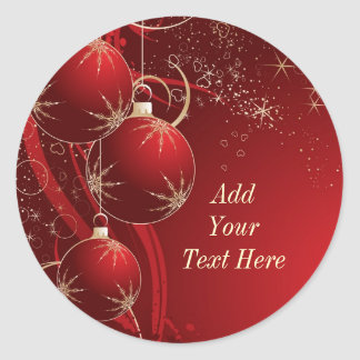 Elegant Red Christmas Classic Round Sticker