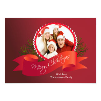 "Elegant Red Christmas Holiday Photo Card 5"" X 7"" Invitation Card"