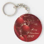 Elegant Red Christmas Keychain