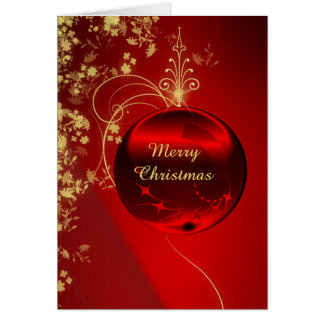 Elegant Red Christmas Ornament Card